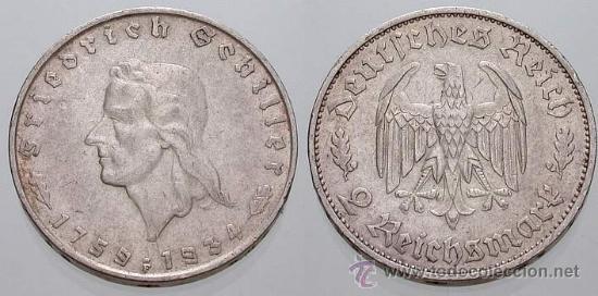 2 REICHSMARK DE PLATA ANIV.SCHILLER 1934 (Numismática - Extranjeras - Europa)