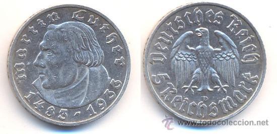 5 REICHSMARK DE PLATA MARTIN LUTHER MUY ESCASA (Numismática - Extranjeras - Europa)