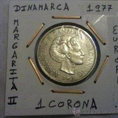Monedas antiguas de Europa: MONEDA DE DINAMARCA DE MARGARITA II 1 CORONA 1977. Lote 194920131