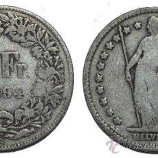 Monedas antiguas de Europa: SUIZA. 1 FRANCO DE 1894A. PLATA. Lote 36704722