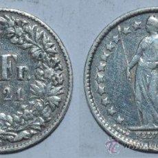 Monedas antiguas de Europa: 1/2 FRANCO SUIZO DE 1921. PLATA. Lote 36706614