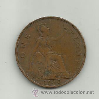 Monedas antiguas de Europa: INGLATERRA GEORGIUS V - ONE PENNY - AÑO 1930 - Foto 2 - 37505596