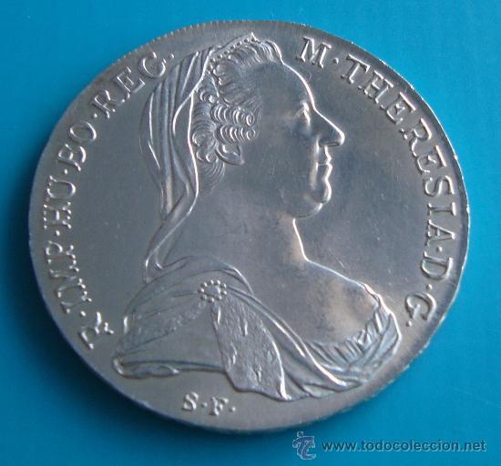 MONEDA, TALERO DE PLATA, AUSTRIACO DE MARIA THERESA, (REACUÑACIÓN) 1780 (Numismática - Extranjeras - Europa)