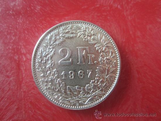 SUIZA 2 FRANCOS DE PLATA DE 1967 (Numismática - Extranjeras - Europa)