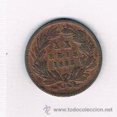 Monedas antiguas de Europa: PORTUGAL LUIZ I 20 REIS AÑO 1883 . Lote 39079841