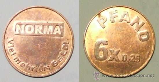 TOKEN - NORMA · VIELMAHRFÜRS GELD! - PFAND 6X0,25. (Numismática - Extranjeras - Europa)