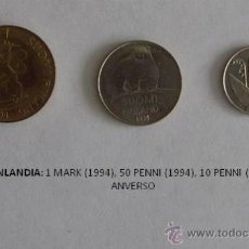 Monedas antiguas de Europa: MONEDAS DE FINLANDIA DE 1994: 1 MARK, 50 PENNI Y 10 PENNI. Lote 39317866