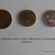 Monedas antiguas de Europa: MONEDAS DE AUSTRIA: 1 SHILLING (1994), 50 GROSCHEN (1992) Y 10 GROSCHEN (1995). Lote 39317927