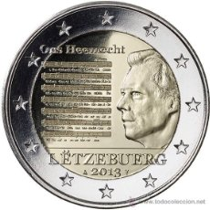 Monedas antiguas de Europa: LUXEMBURGO 2013. 2 EUROS CONMEMORATIVOS DEL HIMNO NACIONAL SIN CIRCULAR PROCEDENTE DE CARTUCHO. Lote 222745191