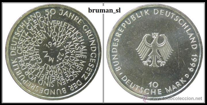 10 MARCOS PLATA 1999 D- 50 JAHRE GRUNDGESETZ / 50 AÑOS CONSTITTUCION (Numismática - Extranjeras - Europa)
