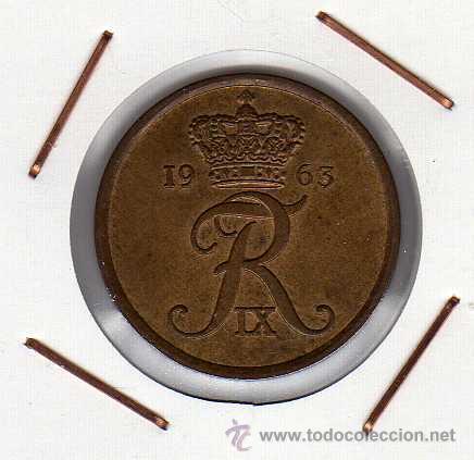 DINAMARCA : 5 ÖRE 1963 EBC+ (Numismática - Extranjeras - Europa)