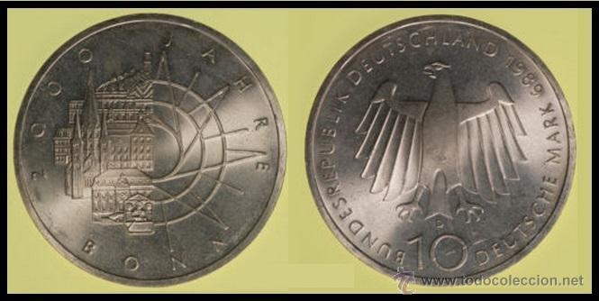 10 MARCOS DE PLATA 1989-D - 2000 JAHRE BONN - 2000 AÑOS BONN - (Numismática - Extranjeras - Europa)