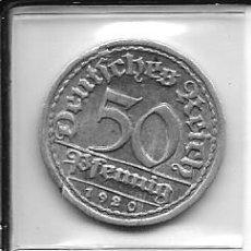 Monedas antiguas de Europa: GRAN LOTE 5 MONEDAS DE 50 PFENNIG 1920 A F G / 1921 G / 1922 G . Lote 41411227