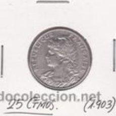Monedas antiguas de Europa: FRANCIA 25 CTMOS. 1903. Lote 42160518