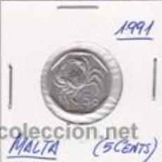 Monedas antiguas de Europa: MALTA 5 CENTS 1991. Lote 42299677