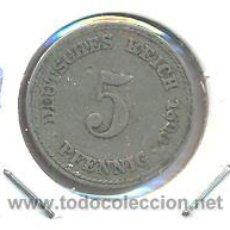 Monedas antiguas de Europa: MONEDA DE ALEMANIA IMPERIO 5PF AÑO 1890A. Lote 42353736