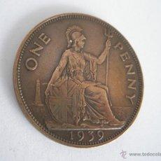 Monedas antiguas de Europa: MONEDA-GRAN BRETAÑA-ONE PENNY-1939-COBRE-.. Lote 42565238