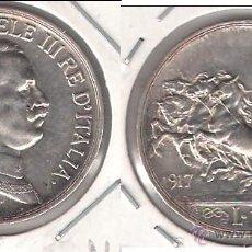 Monedas antiguas de Europa: MONEDA DE UNA LIRA DE ITALIA DE 1917. PLATA. EBC. CATÁLOGO WORLD COINS-KM57. (ME1007).. Lote 43056343