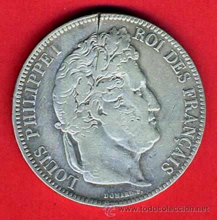 MONEDA 5 FRANCOS 1845 , FRANCIA , LOUIS FHILIPPPE I , PLATA , ORIGINAL, A (Numismática - Extranjeras - Europa)