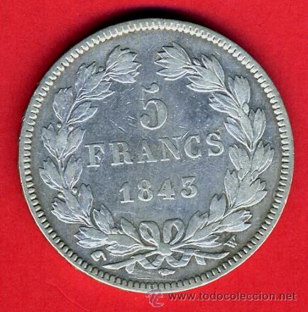 Monedas antiguas de Europa: MONEDA 5 FRANCOS 1845 , FRANCIA , LOUIS FHILIPPPE I , PLATA , ORIGINAL, A - Foto 2 - 43159415