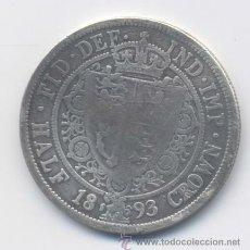 Monedas antiguas de Europa: GRAN BRETANIA- 1/2 CORONA- 1893- PLATA. Lote 43532674