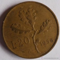 Monedas antiguas de Europa: 20 LIRAS ITALIA 1958. Lote 43576786