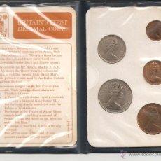 Monedas antiguas de Europa: EXCLUSIVA CARTERA 5 VALORES (3 COBRE Y 2 NIQUEL) BRITAINS FIRST DECIMAL COINS. CALIDAD PROOF. Lote 43632693