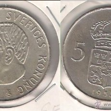 Monedas antiguas de Europa: MONEDA DE 5 CORONAS DE SUECIA DE 1955 DEL REINADO DE GUSTAF VI. PLATA. EBC+ (ME713).. Lote 43974477