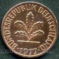 Monedas antiguas de Europa: ALEMANIA FEDERAL 1 PFENNIG DE 1977 G ( HOJAS DE ROBLE ). Lote 143122282