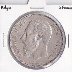 Monedas antiguas de Europa: BÉLGICA 5 FRANCOS 1868 LEOPOLDO II. Lote 45284420