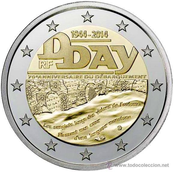 MONEDA CONMEMORATIVA DE 2 € FRANCIA 2014. DIA D (Numismática - Extranjeras - Europa)