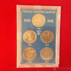 Monedas antiguas de Europa: ESTUCHE EXPOSITOR ORIGINAL CON LAS PRUEBAS DE LAS CINCO CORONAS INGLESAS ACUÑADAS DE 1965 A 1981. Lote 45572888