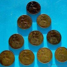 Monedas antiguas de Europa: LOTE DE 10 MONEDAS DE BRONCE 1 PENNY BRITANICO DE EDUARDO VII JORGE V. Lote 45640395