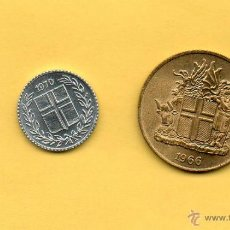 Monedas antiguas de Europa: MM. 2 PIEZAS ISLANDIA. BONITAS. 1 CORONA Y 10 CÉNTIMOS. 1 KRONA. 10 AURAR. ISLAND. 1966 Y 1970 FOTOS. Lote 46468886