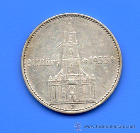 ALEMANIA 2 MARCOS PLATA (2 REICHSMARK) 1934 J - 1º ANIV. GOBIERNO NAZI (CECA ESCASA) (Numismática - Extranjeras - Europa)