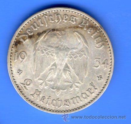 Monedas antiguas de Europa: ALEMANIA 2 MARCOS PLATA (2 REICHSMARK) 1934 J - 1º ANIV. GOBIERNO NAZI (CECA ESCASA) - Foto 2 - 55036605