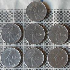 Monedas antiguas de Europa: LOTE DE DIEZ MONEDAS DE 50 LIRAS ITALIANAS. TODAS CON AÑOS DIFERENTES. Lote 47500254