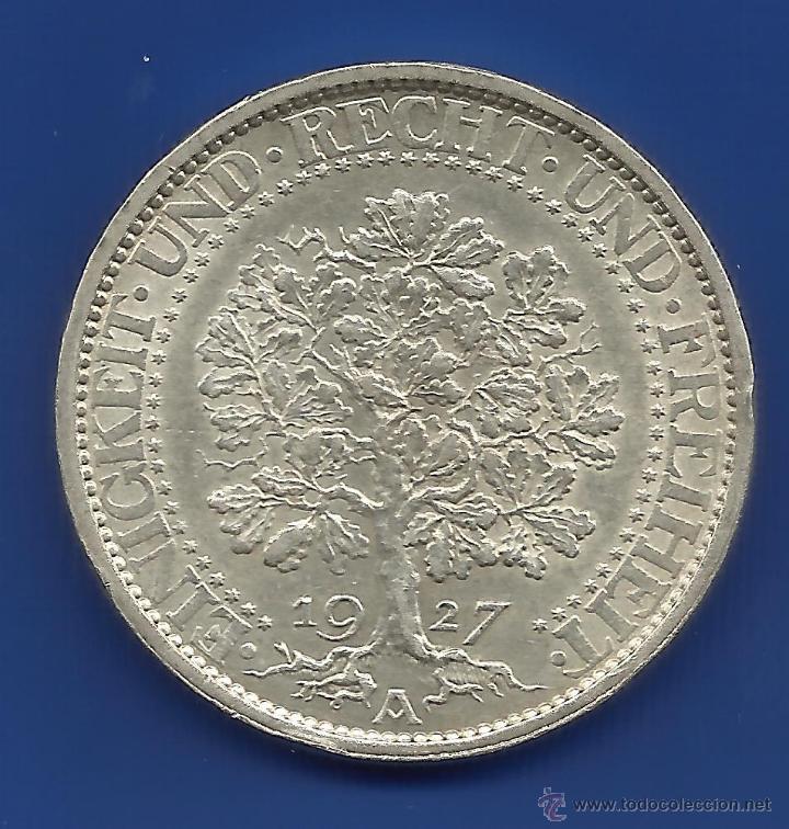 ALEMANIA 5 MARCOS PLATA 1927-A ( 5 REICHSMARK) ROBLE ESCASA (Numismática - Extranjeras - Europa)