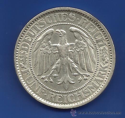 Monedas antiguas de Europa: ALEMANIA 5 MARCOS PLATA 1927-A ( 5 REICHSMARK) Roble ESCASA - Foto 2 - 47595283