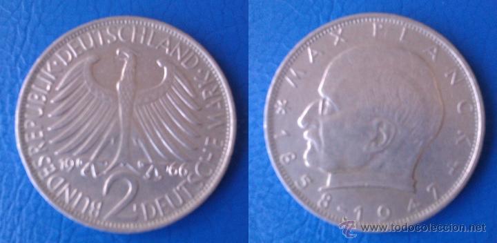 MONEDA DE 2 MARCOS ALEMANIA 1966 LETRA F MAX PLANCK 1858 - 1947 DIFICIL DE CONSEGUIR AÑO Y CECA (Numismática - Extranjeras - Europa)
