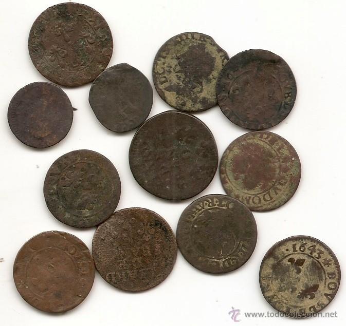Monedas antiguas de Europa: Francia: lote de 12 liards. Siglo XVII - Foto 2 - 47925474