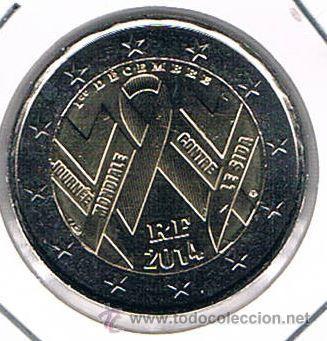 MONEDA CONMEMORATIVA DE 2 € FRANCIA 2014. DÍA MUNDIAL DEL SIDA (Numismática - Extranjeras - Europa)