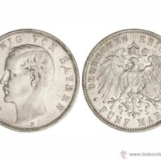 Monedas antiguas de Europa: 5 MARCOS OTTO BAVIERA 1907-D. Lote 48314562