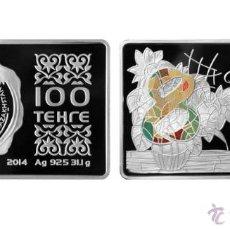 Monedas antiguas de Europa: KAZAJISTAN 100 TENGE PLATA 2014 TIPO LINGOTE MULTICOLOR 8 DE MARZO *NUMISBUR*. Lote 48353021