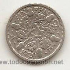 Monedas antiguas de Europa: REINO UNIDO: SIX PENCE DE PLATA DE 1929. Lote 48406098
