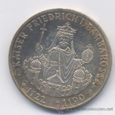 Monedas antiguas de Europa: ALEMANIA- 10 MARCOS- 1990-F-BARBAROSSA-PLATA. Lote 48516254