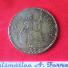 Monedas antiguas de Europa: GRAN BRETAÑA.1 PENNY DE ISABEL II. 1965. Lote 48558363