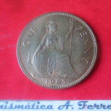 Monedas antiguas de Europa: GRAN BRETAÑA.1 PENNY DE ISABEL II. 1963. Lote 48558500