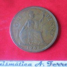 Monedas antiguas de Europa: GRAN BRETAÑA.1 PENNY DE ISABEL II. 1961. Lote 48558552