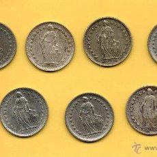 Monedas antiguas de Europa: MM. LOTE 7 MONEDAS MEDIO FRANCO SUIZO. CONFEDERACIÓN HELVETICA. HELVETIA. SUIZA. 1/2 FRANCO VER FOTO. Lote 48588673